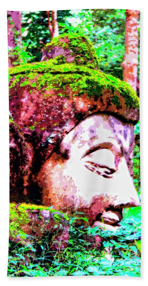 Stone Sculpture Hand Towel featuring the mixed media Ancient One by Dominic Piperata