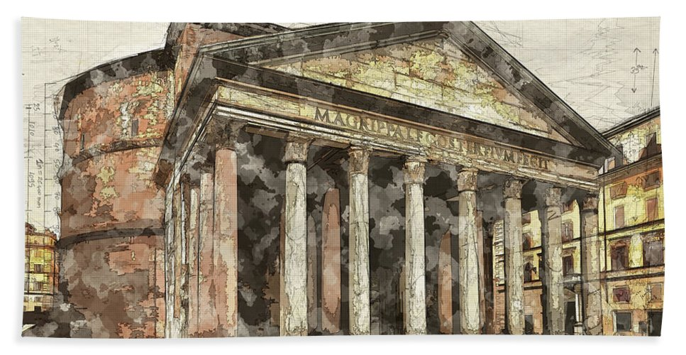 Rome Hand Towel featuring the digital art Ancient Pantheon by Ronald Bolokofsky