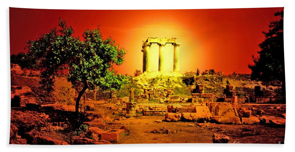 Greece Hand Towel featuring the photograph Ancient Ruins by Madeline Ellis