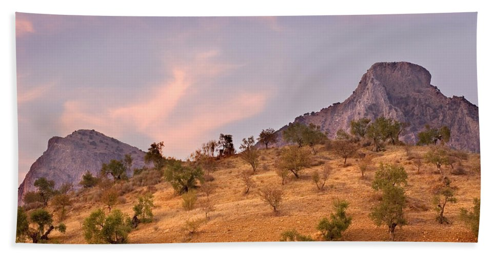 Andalucia Hand Towel featuring the photograph Andalucian Landscape Near Zahara De La Sierra Spain by Mal Bray