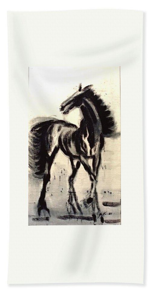 Jarko Hand Towel featuring the painting Andalusian Colt by Jarmo Korhonen aka Jarko