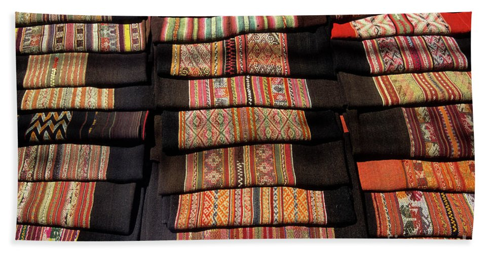 Bolivia Hand Towel featuring the photograph Andean Textile Market by James Brunker