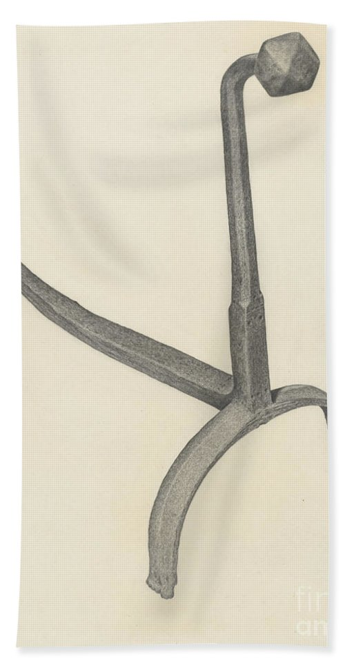 Hand Towel featuring the drawing Andiron by Jack Staloff