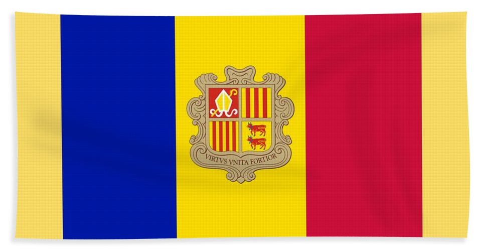Flag Hand Towel featuring the digital art Andorra Flag by Frederick Holiday