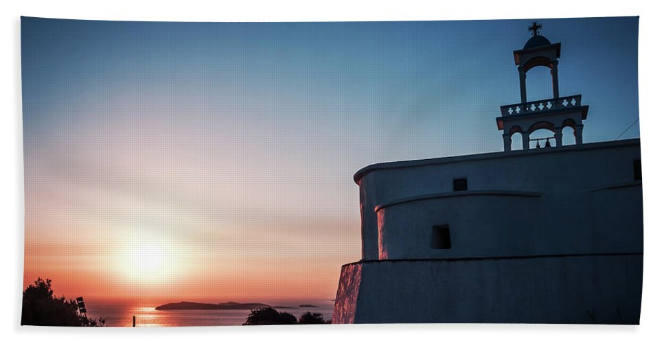 Andros Bath Towel featuring the photograph Andros Island Sunset - Greece by Alexander Voss