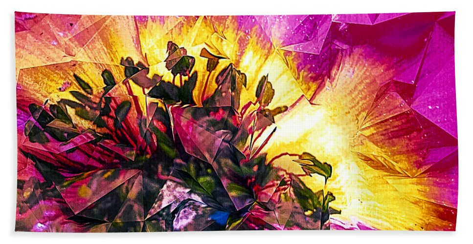 Anemone Abstracted In Fuchsia Bath Sheet featuring the digital art Anemone Abstracted In Fuchsia by Anna Porter