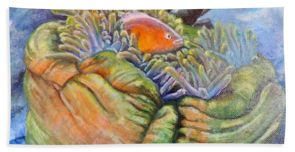 Coral Bath Sheet featuring the painting Anemone Coral And Fish by Jodi Higgins