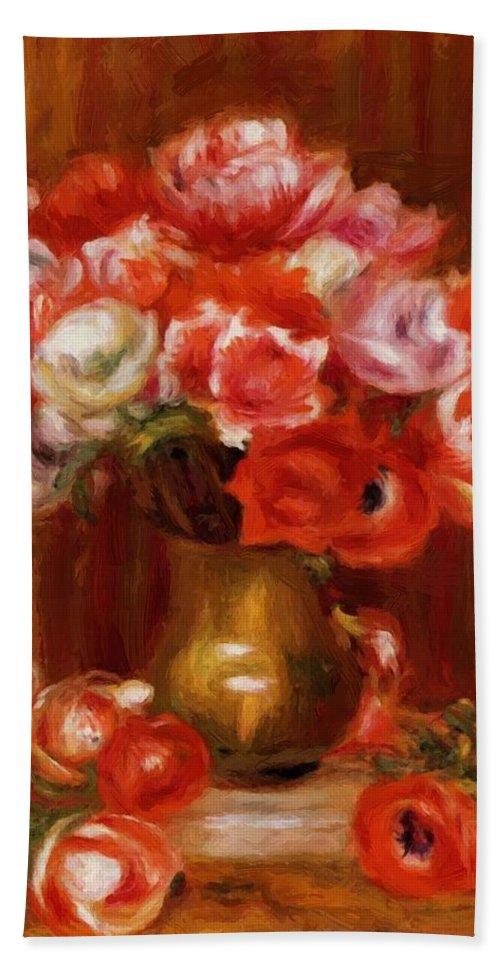 Anemones Hand Towel featuring the painting Anemones 1909 by Renoir PierreAuguste