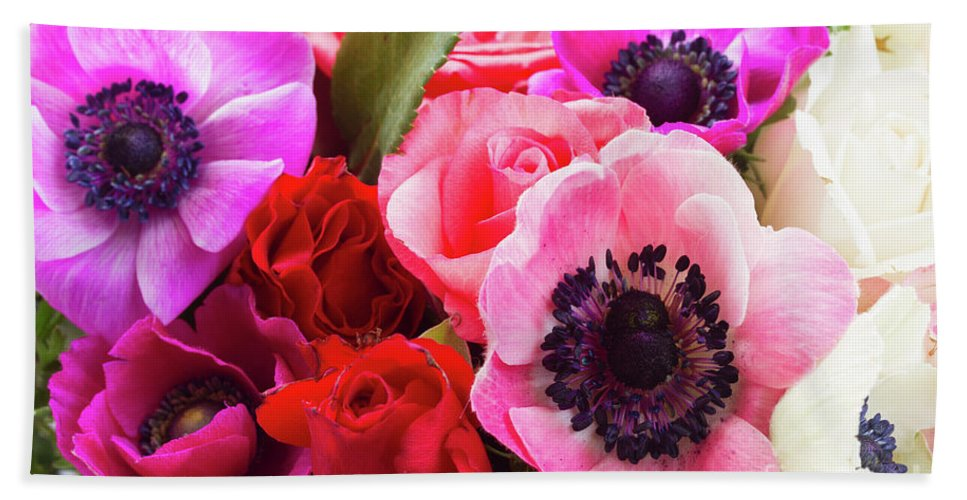 Anemone Hand Towel featuring the photograph Anemones And Roses by Anastasy Yarmolovich