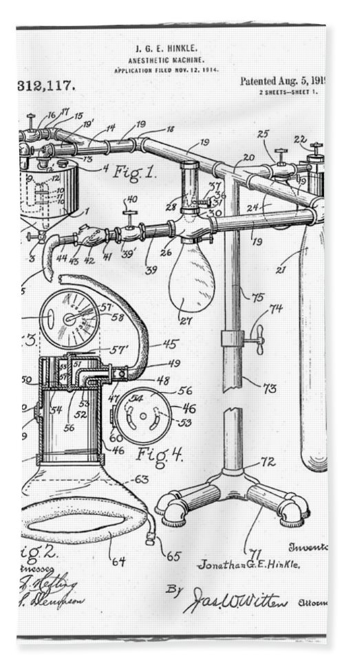 Anesthetic; Anesthesia; Anesthetic; Machine; Anesthesia; Medical; Device; Doctor; Medical; Tool; Medical; Hospital; Instrument; Apparatus; Implant; Wall; Art; Illustration; Patent; Drawing; Diagram; Vintage; Antique; Application; Home; Decor; Living; Room; Ofice; Doctors; Dentist; Technical; Medical; Operation; Operating; Blue; Blueprint; Print Hand Towel featuring the digital art Anesthetic Machine Patent 1919 by Bill Cannon