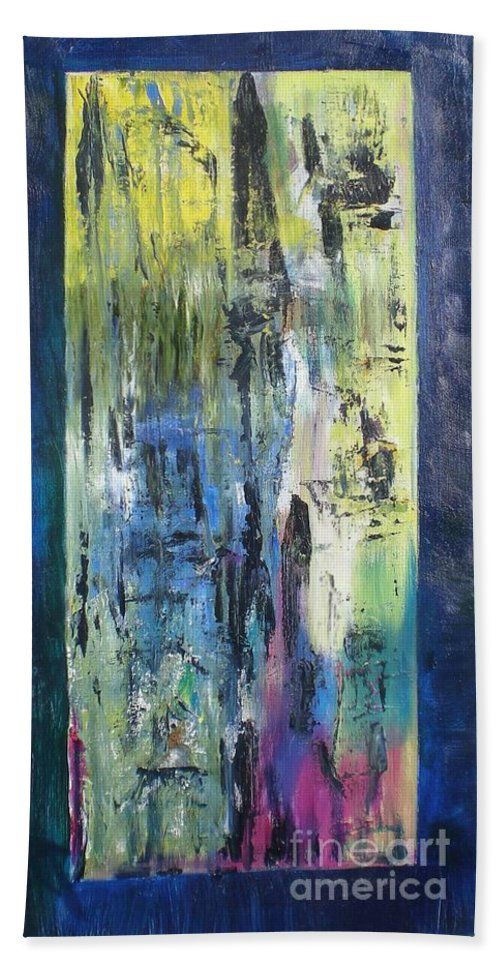 Abstract Hand Towel featuring the painting Angel 1 by Hal Newhouser