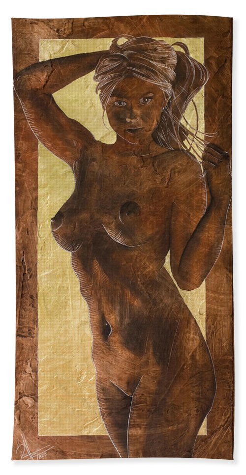 Nude Bath Sheet featuring the painting Angel In Gold by Richard Hoedl