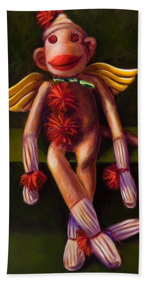 Sock Monkey Angel Bath Towel featuring the painting Angel Made Of Sockies by Shannon Grissom