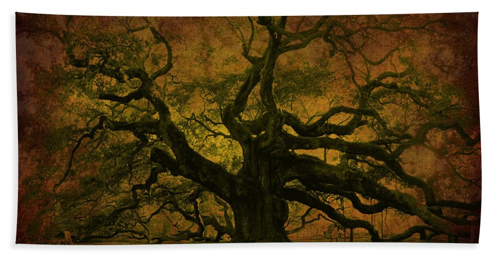 Angel Oak Hand Towel featuring the photograph Angel Oak 3 Charleston by Susanne Van Hulst