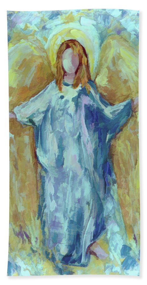 Guardian Bath Sheet featuring the digital art Angel Of Harmony by Lena Owens OLena Art