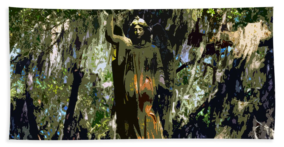 Angel Hand Towel featuring the painting Angel Of Savannah by David Lee Thompson