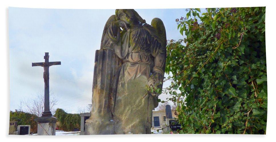 Angel Hand Towel featuring the photograph Angel On Graveyard by Miroslav Nemecek