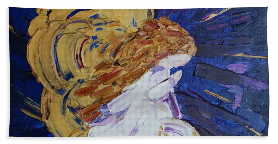 Angel Hand Towel featuring the painting Angel Prayers by Michelle Cain