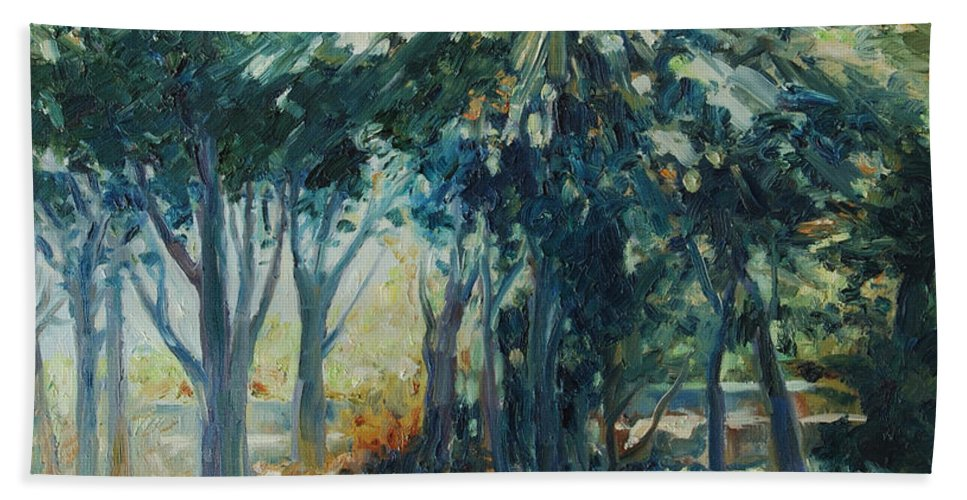 Trees Bath Towel featuring the painting Angel Rays by Rick Nederlof