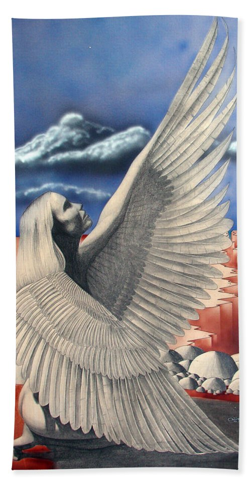 Shaun Hand Towel featuring the painting Angel by Shaun McNicholas