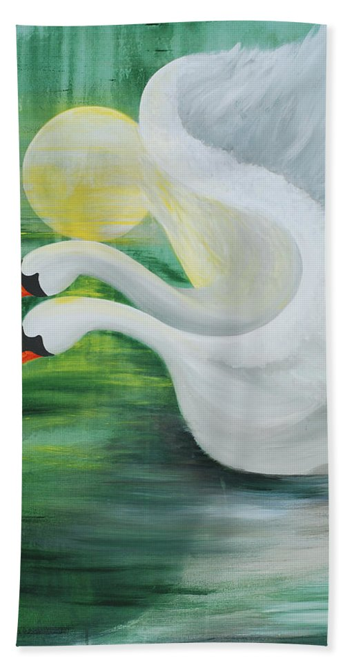 Angels Swans Bath Sheet featuring the painting Angel Swans by Catt Kyriacou