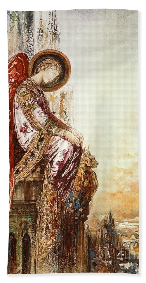 Watercolor Bath Towel featuring the painting Angel Traveller by Gustave Moreau