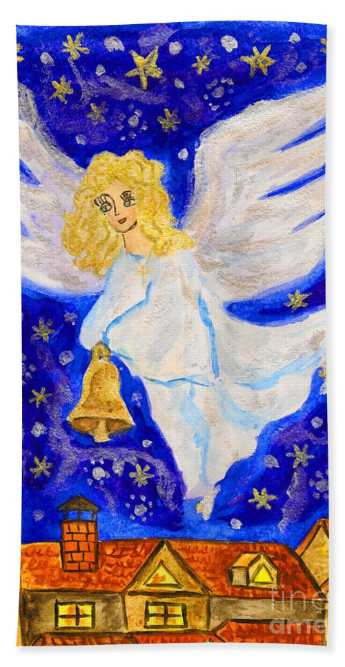 Visual Bath Sheet featuring the painting Angel With Christmas Bell by Irina Afonskaya