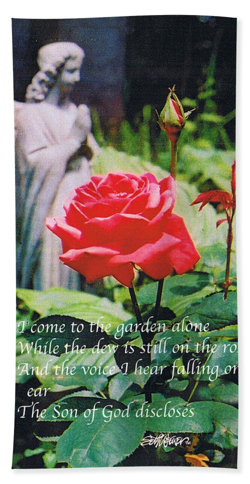 Angel Statute Bath Towel featuring the photograph Angel with Roses 2 by Seth Weaver