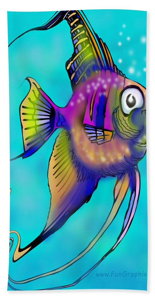 Angelfish Hand Towel featuring the painting Angelfish by Kevin Middleton