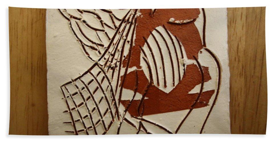 Jesus Bath Sheet featuring the ceramic art Angelica - Tile by Gloria Ssali
