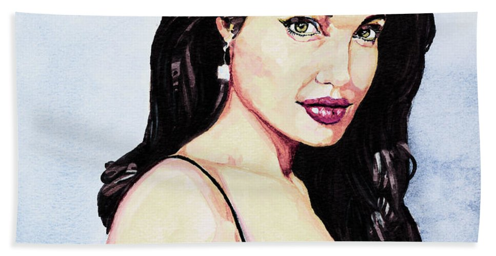 Star Hand Towel featuring the painting Angelina Jolie Portrait by Alban Dizdari