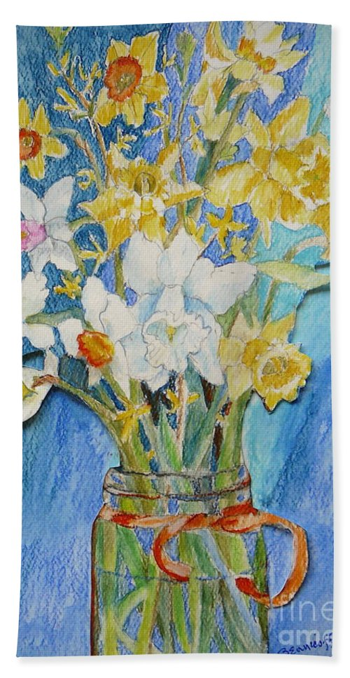 Flowers Bath Sheet featuring the painting Angels Flowers by Jan Bennicoff