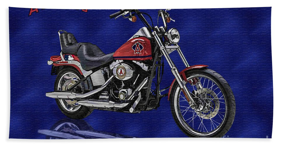 Harley Bath Sheet featuring the digital art Angels Harley - Oil by Tommy Anderson