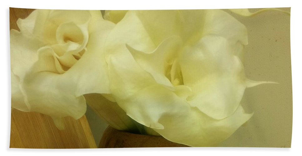 Flower Hand Towel featuring the photograph Angel's Trumpet by Anjelika Furmanova