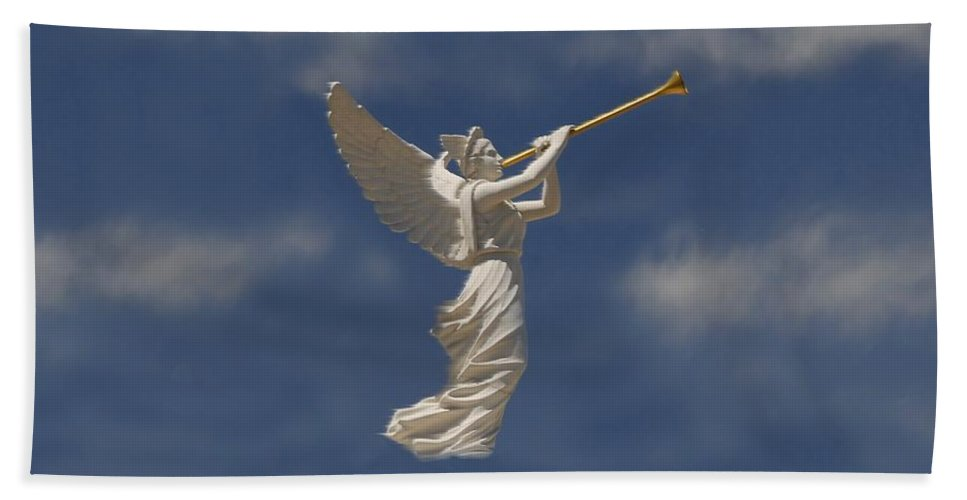 Angel Hand Towel featuring the digital art Angels Trumpet by David Lee Thompson