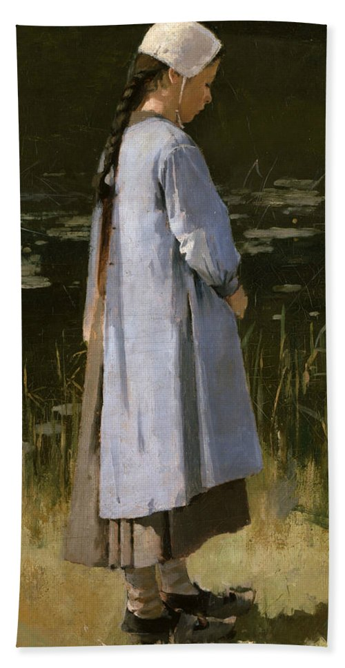 Theodore Robinson Bath Towel featuring the painting Angelus by Theodore Robinson