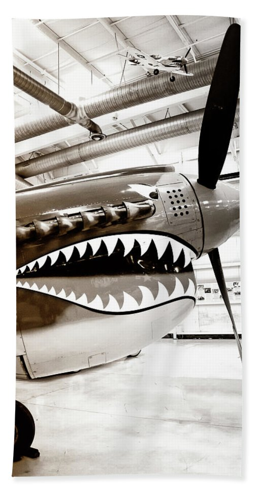 Ps Air Museum Hand Towel featuring the photograph Anger Management Bw Palm Springs Air Museum by William Dey