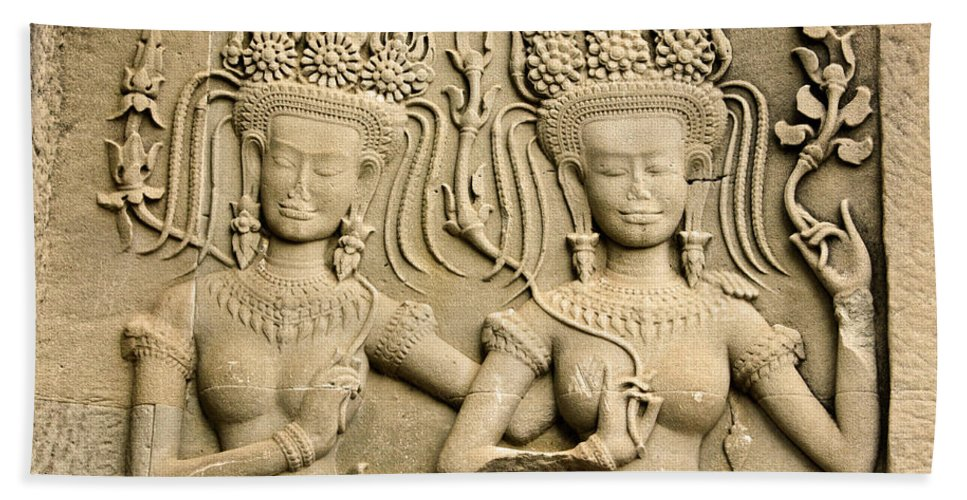 Asia Hand Towel featuring the photograph Angkor Wat Relief by Michele Burgess
