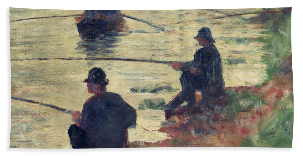 E Seurat (1859-91) Bath Sheet featuring the painting Anglers by Georges Pierre Seurat