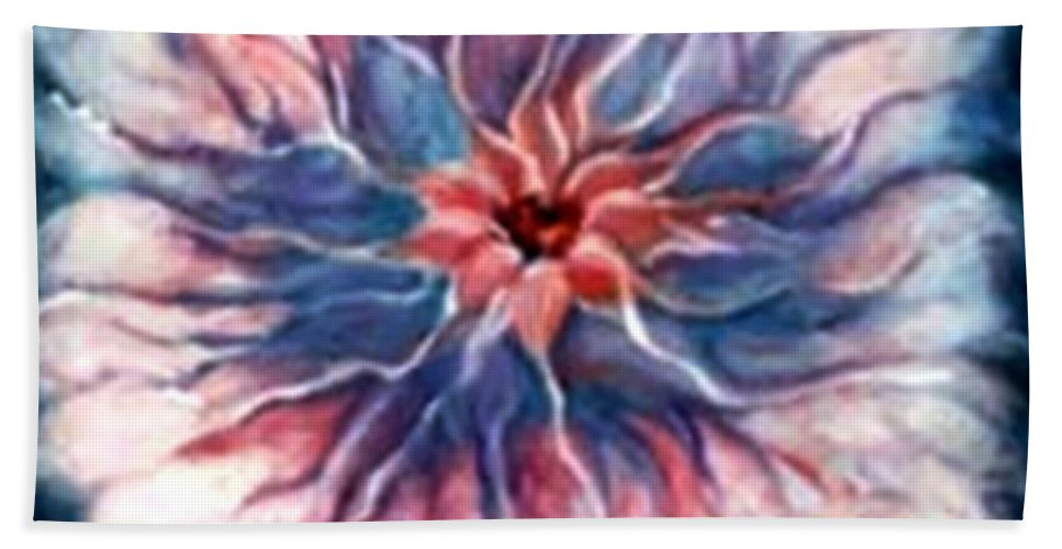 Abstract Flowerpink Art Wrok Hand Towel featuring the painting Angora Bloom by Jordana Sands
