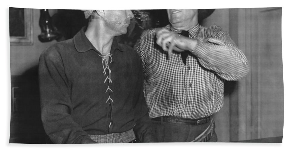 1950s Hand Towel featuring the photograph Angry Cowboy In A Bar by Underwood Archives