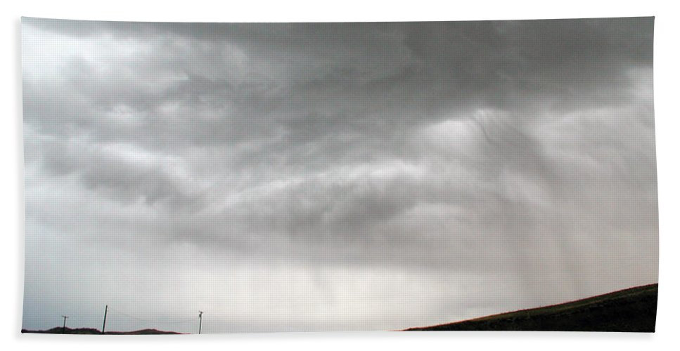 Big Sky Bath Sheet featuring the photograph Angry Sky - Montana by D'Arcy Evans
