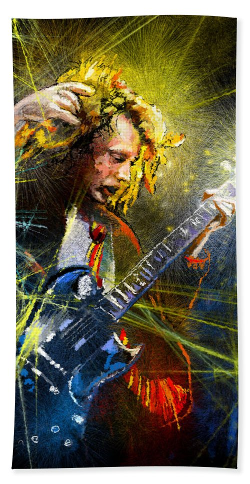 Music Hand Towel featuring the painting Angus Young by Miki De Goodaboom