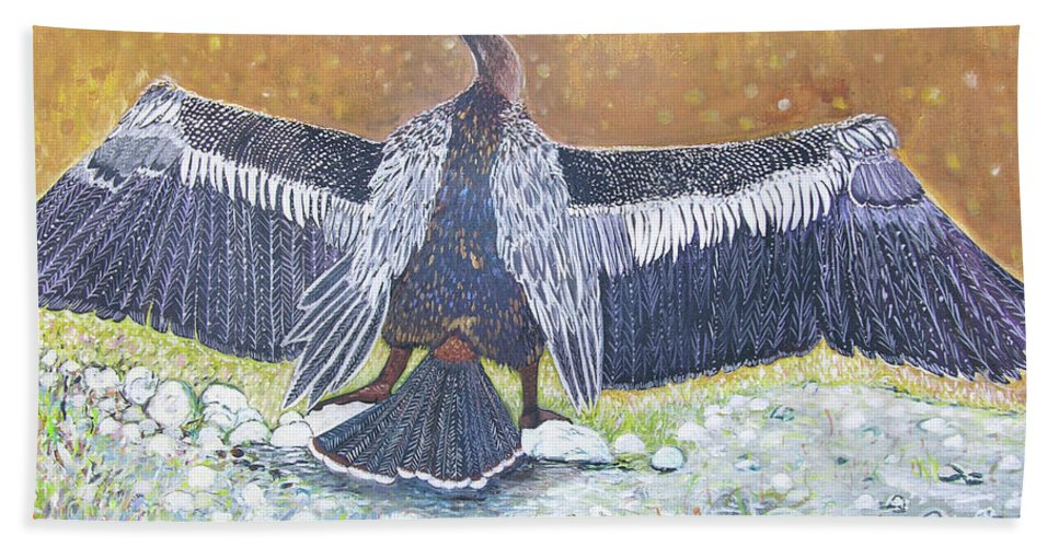Anhinga - Large Water Bird Bath Sheet featuring the painting Anhinga Drying Her Wings by Alicia Otis