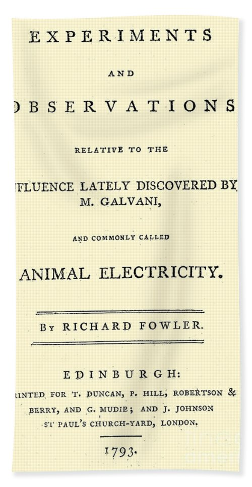 History Bath Sheet featuring the photograph Animal Electricity, Title Page by Wellcome Images