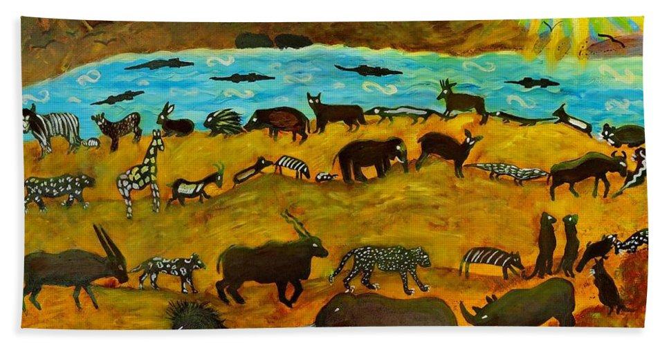 Animals Bath Sheet featuring the painting Animal Exodus by Caroline Street