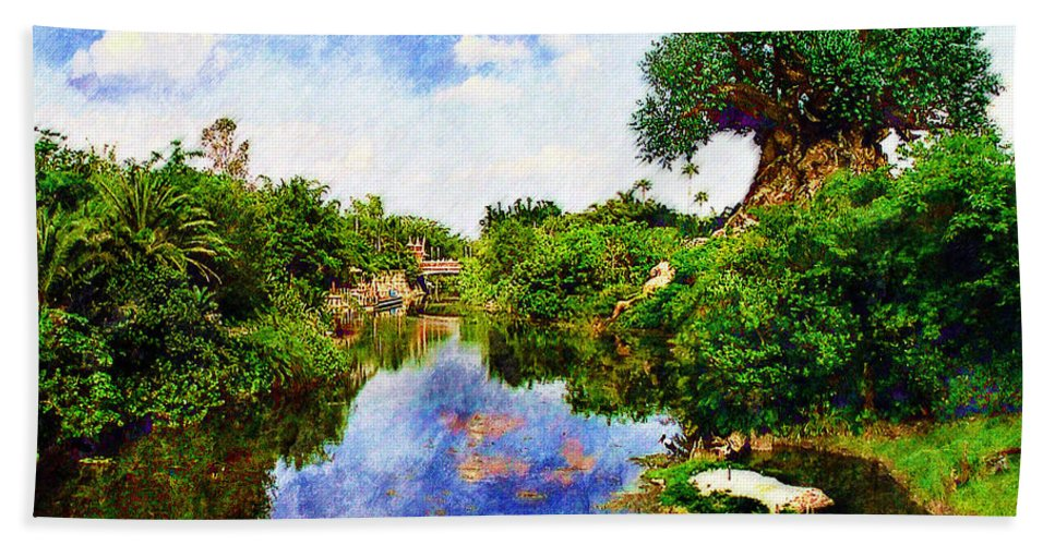 Landscape Hand Towel featuring the digital art Animal Kingdom Tranquility by Sandy MacGowan