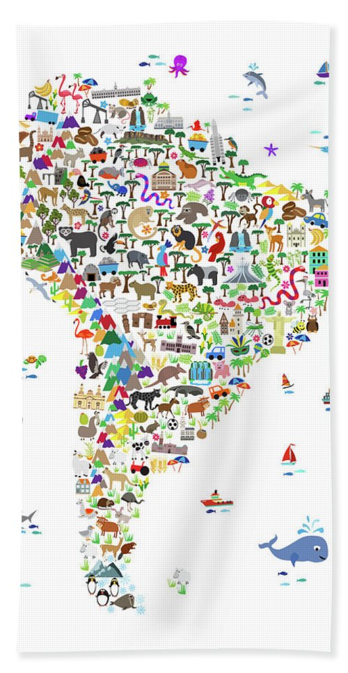 South America Map Hand Towel featuring the digital art Animal Map Of South America For Children And Kids by Michael Tompsett