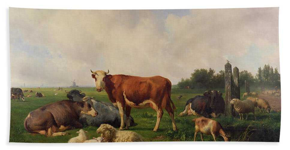 Animals Bath Sheet featuring the painting Animals Grazing In A Meadow by Hendrikus van de Sende Baachyssun