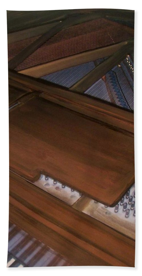 Piano Bath Sheet featuring the mixed media Anita's Piano 2 by Anita Burgermeister